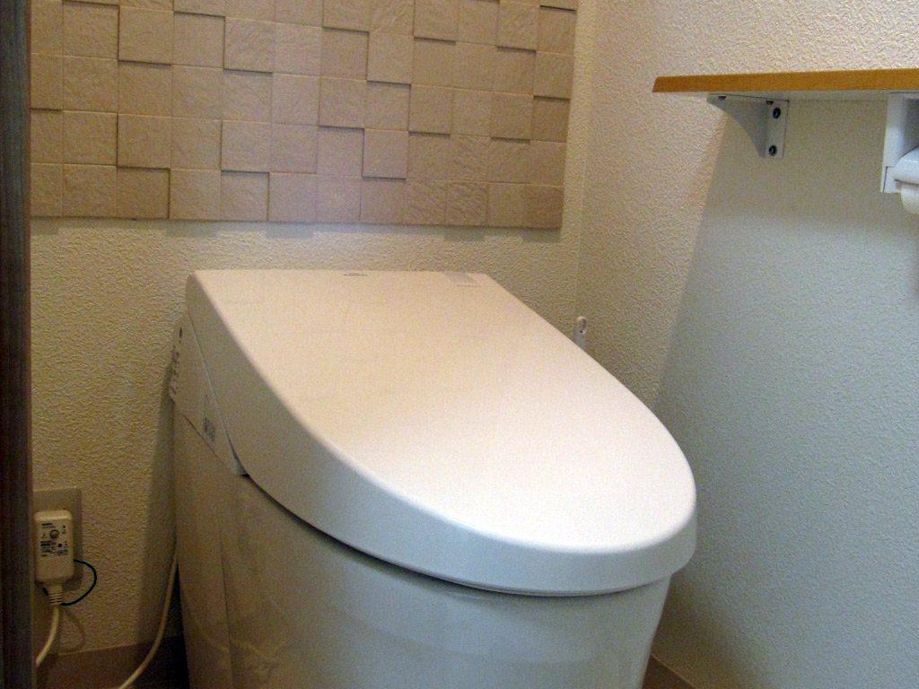 節水トイレに消臭機能があるエコカラットを張りました。デザイン的にも個性があります。