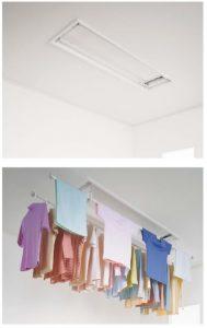 天井付 昇降式 は、使いやすい高さまで竿を下すことができるので、 背の低い方や高齢者の方、お体の不自由な方でも 負担なく洗濯物を干すことができます。