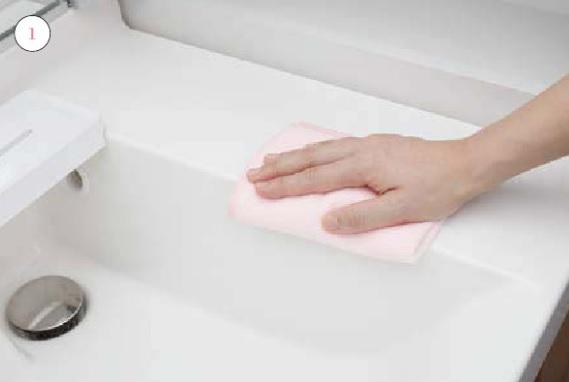 洗面室カウンター_お手入れの仕方画像