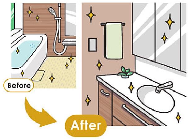 浴室と洗面所をセットでリフォームのイラスト