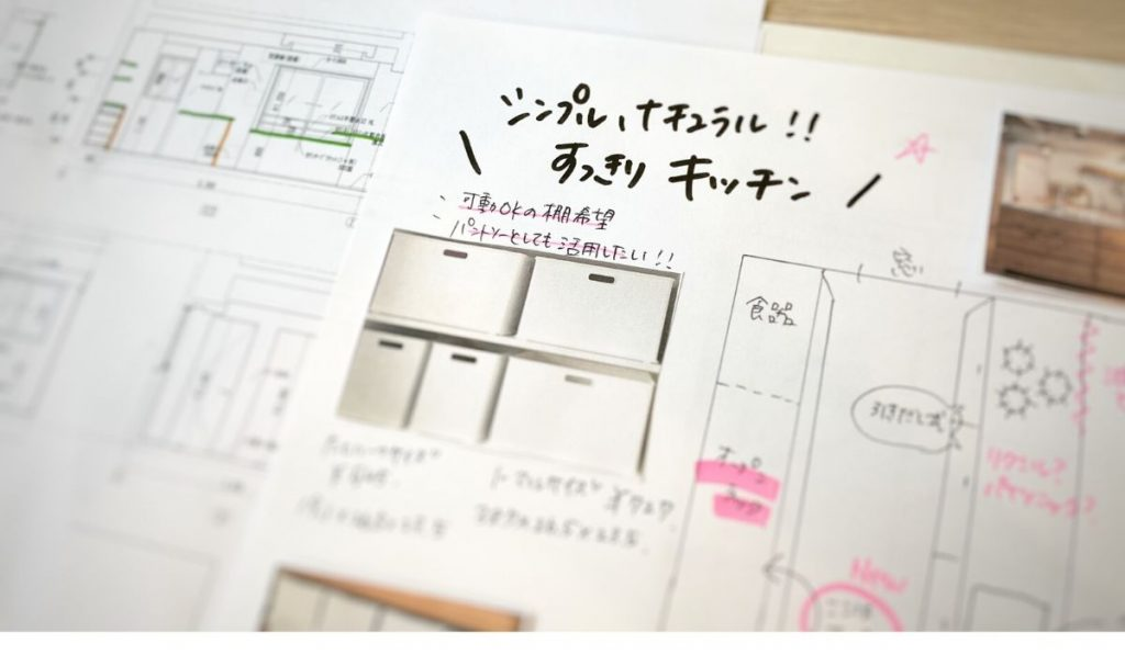 キッチンなどの参考写真をはったA4の用紙(イメージ図)