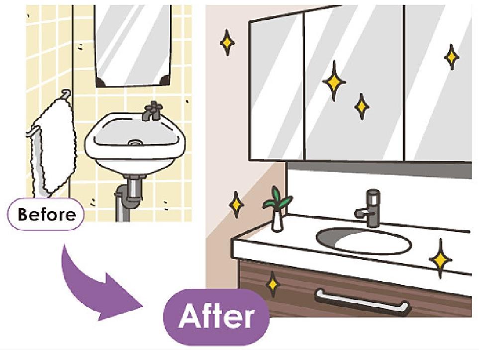 洗面化粧台交換のリフォームイラスト