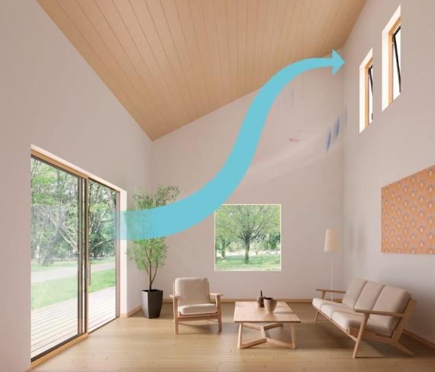 自然換気_窓の高低差で流れをつくる画像