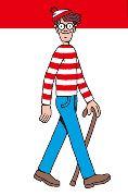 赤と白のストライブのTシャツ ウォーリー