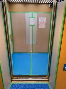 マンションのエレベーター 中側 共有部分 養生は丁寧に仕上げます